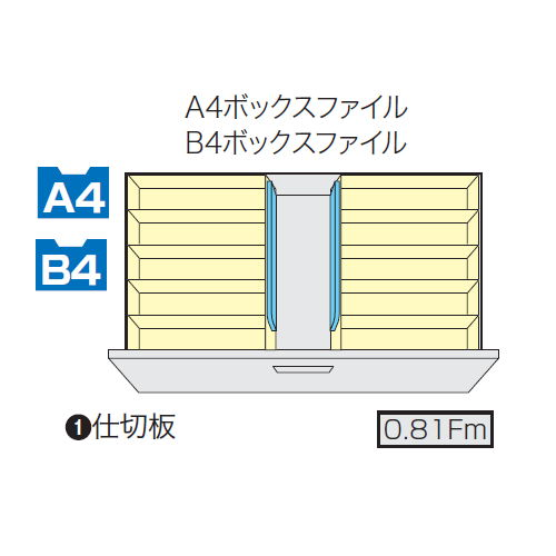 ファイル引き出し書庫 3段 ナイキ NW型 NW-0911S-3-AW W899×D450×H1050(mm)商品画像3