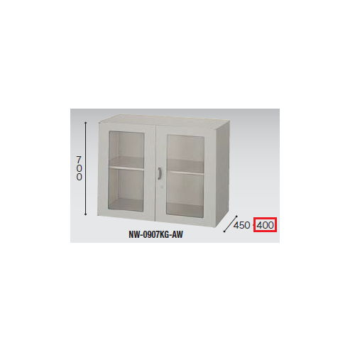 キャビネット・収納庫 ガラス両開き書庫 H700mm NWS型 NWS-0907KG-AW W899×D400×H700(mm)のメイン画像