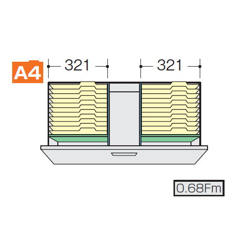 ナイキ CWS型・NWS型ファイル引き出し書庫用A4フォルダー仕切セットI NWS-A4FFBのメイン画像