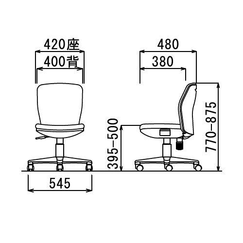 チェア アイコ OA-1005 セミローバック 肘なし商品画像6