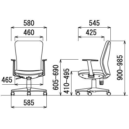 チェア アイコ OA-1255TJ ミドルバック T型肘付きタイプ商品画像3