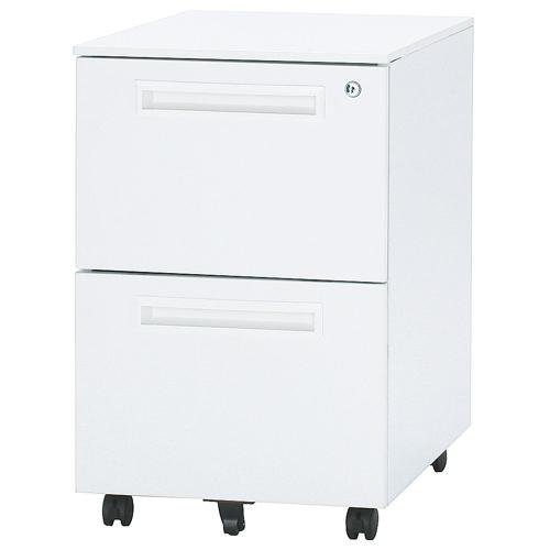 デスク 井上金庫(イノウエ) ワゴン 2段 ホワイト ODW-2 W397×D550×H616(mm)のメイン画像
