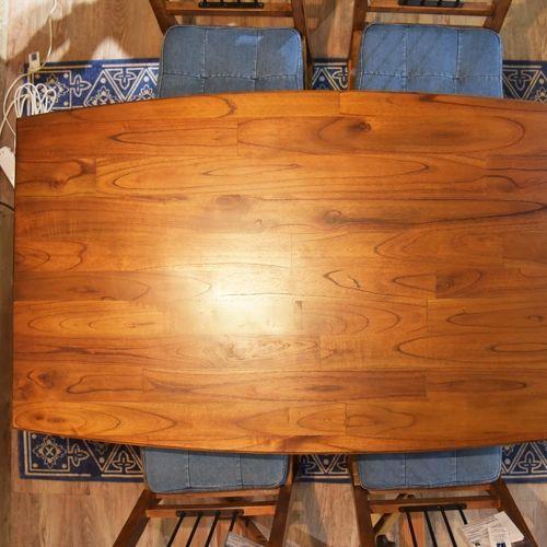 ダイニングテーブル ティンバーシリーズ 天然木(ミンディ) アイアン棚 W1300×D750×H720(mm)商品画像3