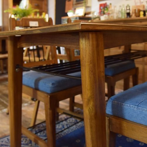 ダイニングテーブル ティンバーシリーズ 天然木(ミンディ) アイアン棚 W1300×D750×H720(mm)商品画像4