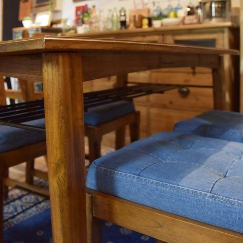 ダイニングテーブル ティンバーシリーズ 天然木(ミンディ) アイアン棚 W1300×D750×H720(mm)商品画像5