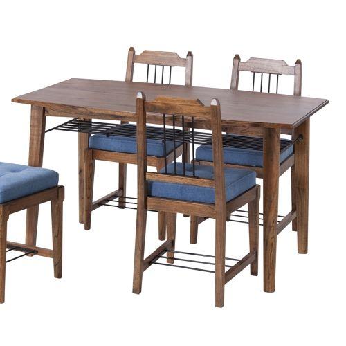 ダイニングテーブル ティンバーシリーズ 天然木(ミンディ) アイアン棚 W1300×D750×H720(mm)商品画像7