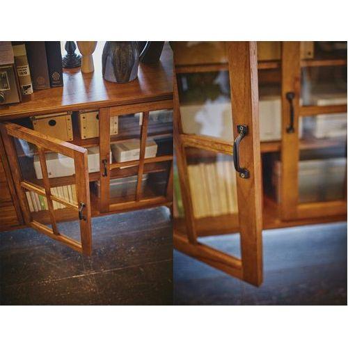 キャビネット ティンバーシリーズ 天然木(ミンディ) 4段引出し+3段ガラス戸棚 W1200×D400×H750(mm)商品画像6