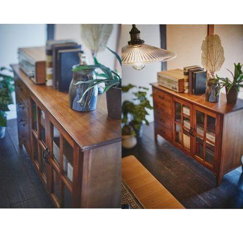 キャビネット ティンバーシリーズ 天然木(ミンディ) 4段引出し+3段ガラス戸棚 W1200×D400×H750(mm)商品画像8