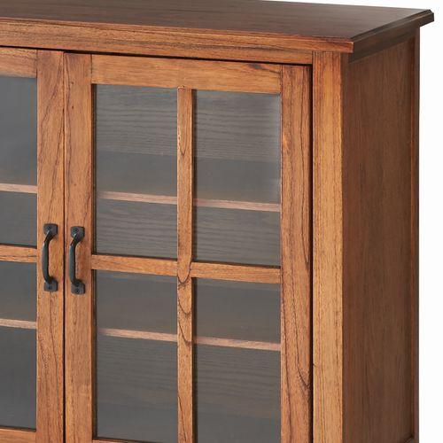 キャビネット ティンバーシリーズ 天然木(ミンディ) 4段引出し+3段ガラス戸棚 W1200×D400×H750(mm)商品画像10