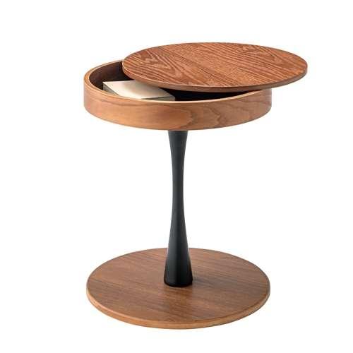 サイドテーブル AZUMAYA(東谷) PT-616 ブラウンカラー オーク化粧合板・化粧繊維板 天板内部収納スペース付き トレーテーブル商品画像2