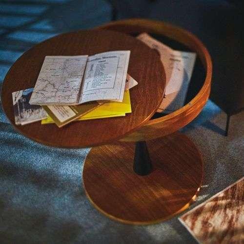 サイドテーブル AZUMAYA(東谷) PT-616 ブラウンカラー オーク化粧合板・化粧繊維板 天板内部収納スペース付き トレーテーブル商品画像9