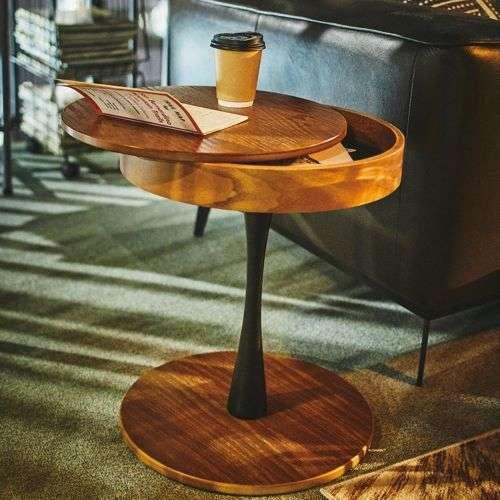 サイドテーブル AZUMAYA(東谷) PT-616 ブラウンカラー オーク化粧合板・化粧繊維板 天板内部収納スペース付き トレーテーブル商品画像10