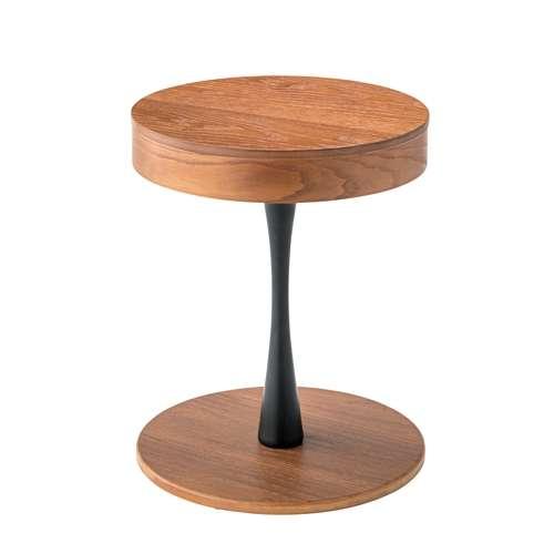 サイドテーブル AZUMAYA(東谷) PT-616 ブラウンカラー オーク化粧合板・化粧繊維板 天板内部収納スペース付き トレーテーブルのメイン画像