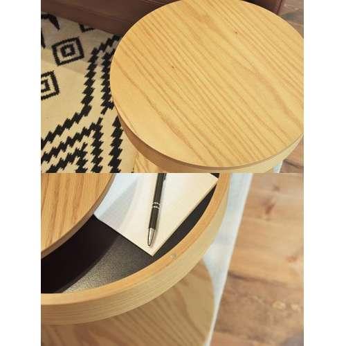 サイドテーブル PT-617 ナチュラルカラー オーク化粧合板・化粧繊維板 天板内部収納スペース付き トレーテーブル商品画像3
