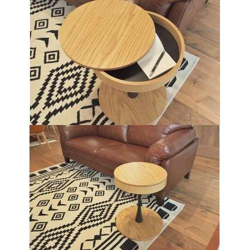 サイドテーブル PT-617 ナチュラルカラー オーク化粧合板・化粧繊維板 天板内部収納スペース付き トレーテーブル商品画像4