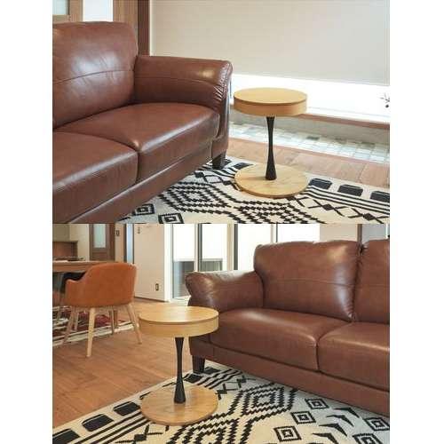 サイドテーブル PT-617 ナチュラルカラー オーク化粧合板・化粧繊維板 天板内部収納スペース付き トレーテーブル商品画像5
