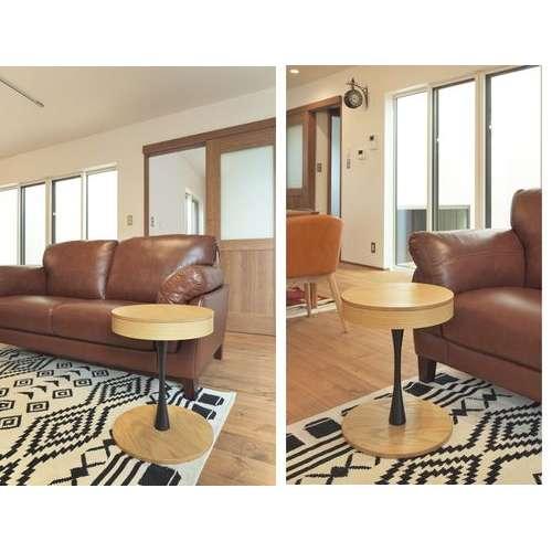 サイドテーブル PT-617 ナチュラルカラー オーク化粧合板・化粧繊維板 天板内部収納スペース付き トレーテーブル商品画像6
