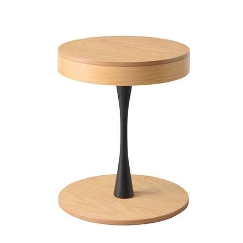 サイドテーブル PT-617 ナチュラルカラー オーク化粧合板・化粧繊維板 天板内部収納スペース付き トレーテーブルのメイン画像
