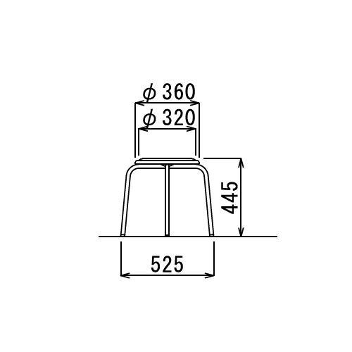 スツール(丸椅子) アイコ 背なし スタッキングチェア RC-60 固定脚 粉体塗装商品画像5