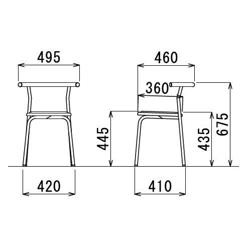 スツール(丸椅子) アイコ 背付き スタッキングチェア RC-70 固定脚 粉体塗装商品画像5