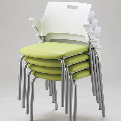 会議椅子 スタッキングチェア SAIN-P24 固定脚 ビニールレザー張り ハーフ肘付き商品画像3