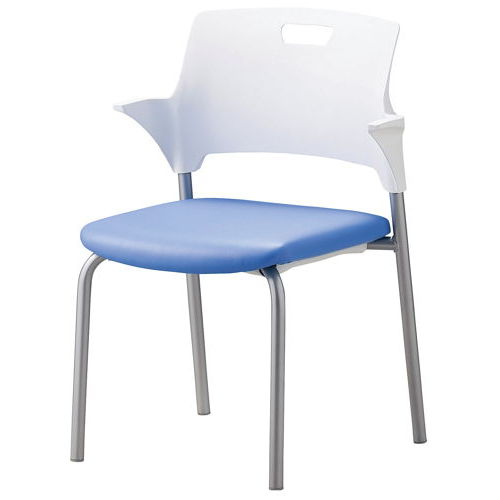 会議椅子 スタッキングチェア SAIN-P24 固定脚 ビニールレザー張り ハーフ肘付きのメイン画像