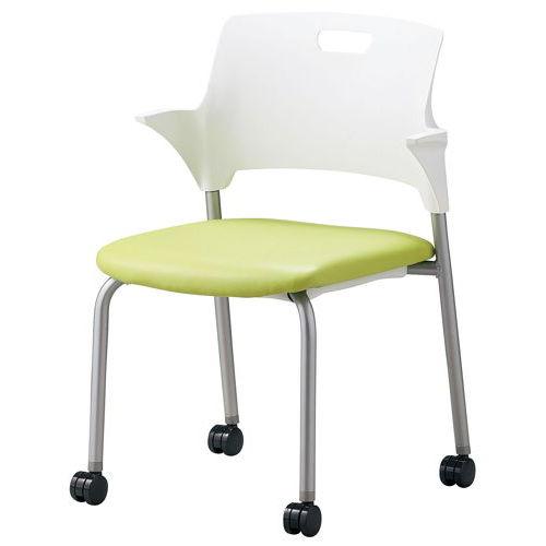 会議椅子 スタッキングチェア SAIN-P25C キャスター脚 ビニールレザー張り ハーフ肘付きのメイン画像
