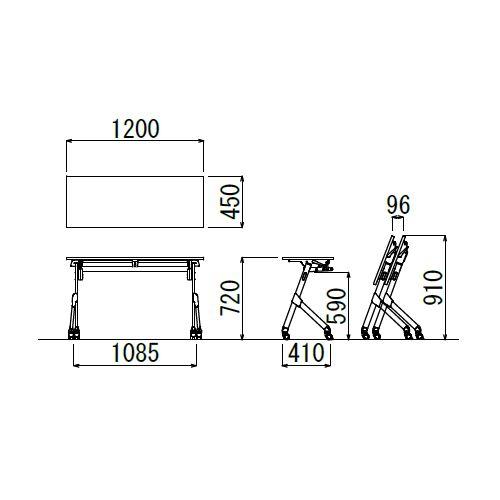 会議用テーブル SAK-1245 W1200×D450×H720(mm) 平行スタックテーブル 棚なし・パネルなし商品画像2