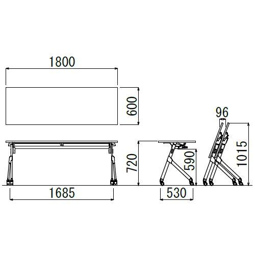 会議用テーブル SAK-1860 W1800×D600×H720(mm) 平行スタックテーブル 棚なし・パネルなし商品画像2