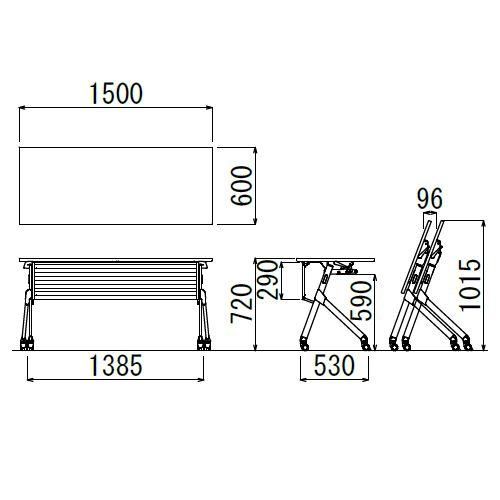 会議用テーブル SAKP-1560 W1500×D600×H720(mm) 平行スタックテーブル 棚なし・パネル付き商品画像2