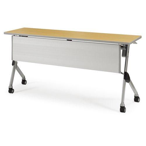 会議用テーブル SAKTP-1545 W1500×D450×H720(mm) 平行スタックテーブル 棚付き・パネル付きのメイン画像