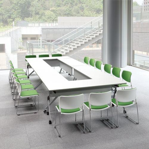 会議用テーブル SAKTP-1845 W1800×D450×H720(mm) 平行スタックテーブル 棚付き・パネル付き商品画像10