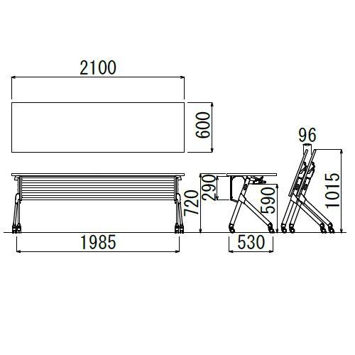 会議用テーブル SAKTP-2160 W2100×D600×H720(mm) 平行スタックテーブル 棚付き・パネル付き商品画像2