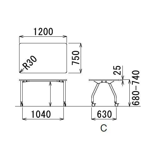 【廃番】会議用テーブル アイコ 天板上下昇降式 キャスター脚 SHT-1275KC W1200×D750×H680~740(mm) 角形天板商品画像3