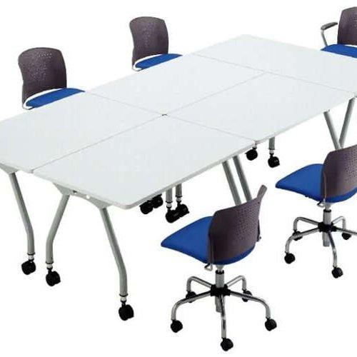 【廃番】テーブル(会議用) アイコ 天板上下昇降式 キャスター脚 SHT-1275KC W1200×D750×H680~740(mm) 角形天板商品画像5