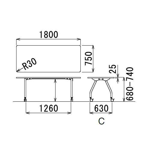 【廃番】会議用テーブル 天板上下昇降式 キャスター脚 SHT-1875KC W1800×D750×H680~740(mm) 角形天板商品画像3