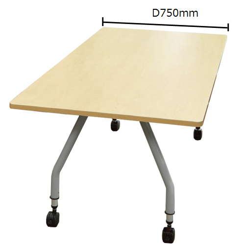 【廃番】会議用テーブル 天板上下昇降式 キャスター脚 SHT-1875KC W1800×D750×H680~740(mm) 角形天板のメイン画像