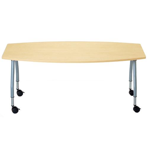 【廃番】テーブル(会議用) アイコ 天板上下昇降式 キャスター脚 SHT-1890BC W1800×D900×H680~740(mm) ボート形(舟形)天板のメイン画像