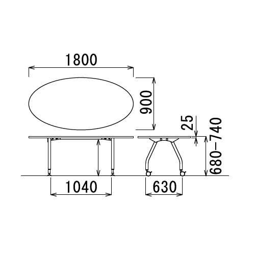 【廃番】会議用テーブル アイコ 天板上下昇降式 キャスター脚 SHT-1890EC W1800×D900×H680~740(mm) タマゴ形(卵形)天板商品画像3