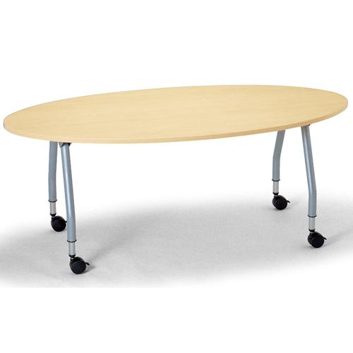 【廃番】テーブル(会議用) アイコ 天板上下昇降式 キャスター脚 SHT-1890EC W1800×D900×H680~740(mm) タマゴ形(卵形)天板のメイン画像