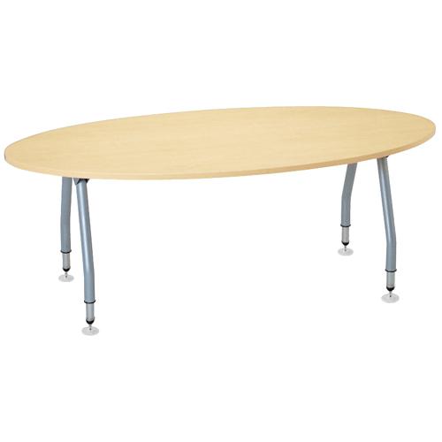 【廃番】テーブル(会議用) アイコ 天板上下昇降式 4本固定脚 SHT-1890EP W1800×D900×H665~725(mm) タマゴ形(卵形)天板のメイン画像