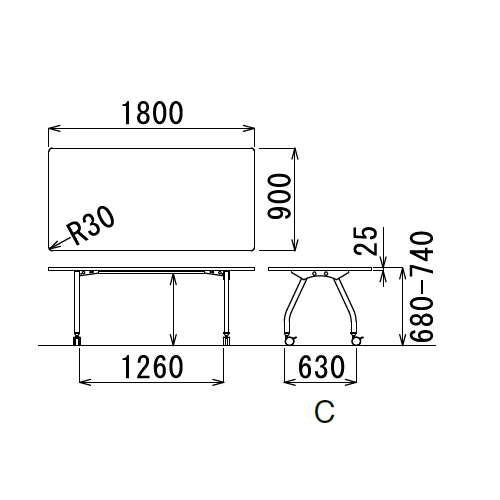 【廃番】会議用テーブル 天板上下昇降式 キャスター脚 SHT-1890KC W1800×D900×H680~740(mm) 角形天板商品画像3