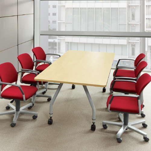 【廃番】会議用テーブル 天板上下昇降式 キャスター脚 SHT-1890KC W1800×D900×H680~740(mm) 角形天板商品画像5