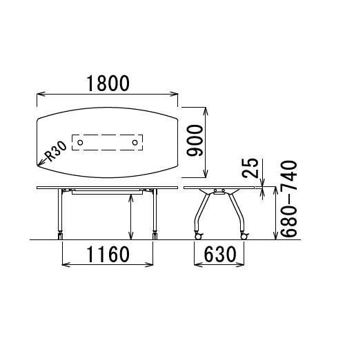 【廃番】テーブル(会議用) アイコ 天板上下昇降式 キャスター脚 SHWT-1890BC W1800×D900×H680~740(mm) ボート形(舟形)天板 ワイヤリングテーブル商品画像3