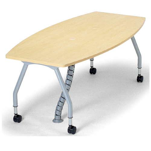 【廃番】テーブル(会議用) アイコ 天板上下昇降式 キャスター脚 SHWT-1890BC W1800×D900×H680~740(mm) ボート形(舟形)天板 ワイヤリングテーブルのメイン画像