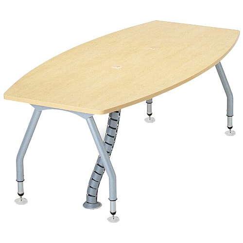 【廃番】会議用テーブル 天板上下昇降式 4本固定脚 SHWT-1890BP W1800×D900×H665~725(mm) ボート形(舟形)天板 ワイヤリングテーブルのメイン画像