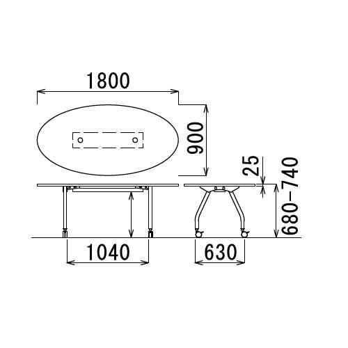 テーブル(会議用) 天板上下昇降式 キャスター脚 SHWT-1890EC W1800×D900×H680~740(mm) タマゴ形(卵形)天板 ワイヤリングテーブル商品画像3