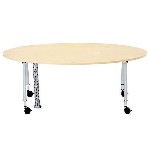 テーブル(会議用) 天板上下昇降式 キャスター脚 SHWT-1890EC W1800×D900×H680~740(mm) タマゴ形(卵形)天板 ワイヤリングテーブルのメイン画像