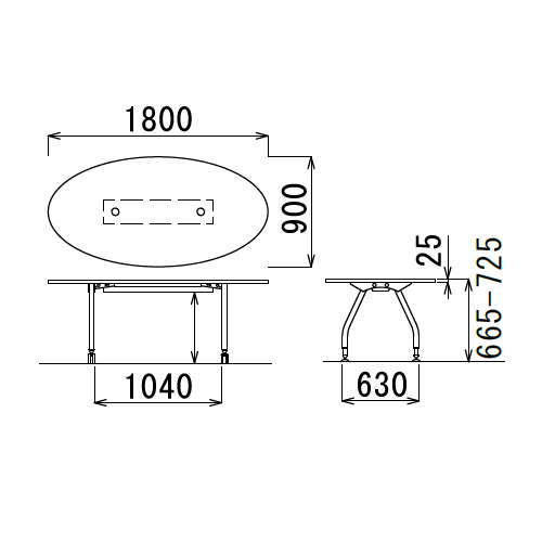 【廃番】テーブル(会議用) アイコ 天板上下昇降式 4本固定脚 SHWT-1890EP W1800×D900×H665~725(mm) タマゴ形(卵形)天板 ワイヤリングテーブル商品画像3