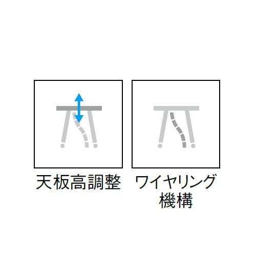 【廃番】テーブル(会議用) アイコ 天板上下昇降式 4本固定脚 SHWT-1890EP W1800×D900×H665~725(mm) タマゴ形(卵形)天板 ワイヤリングテーブル商品画像7
